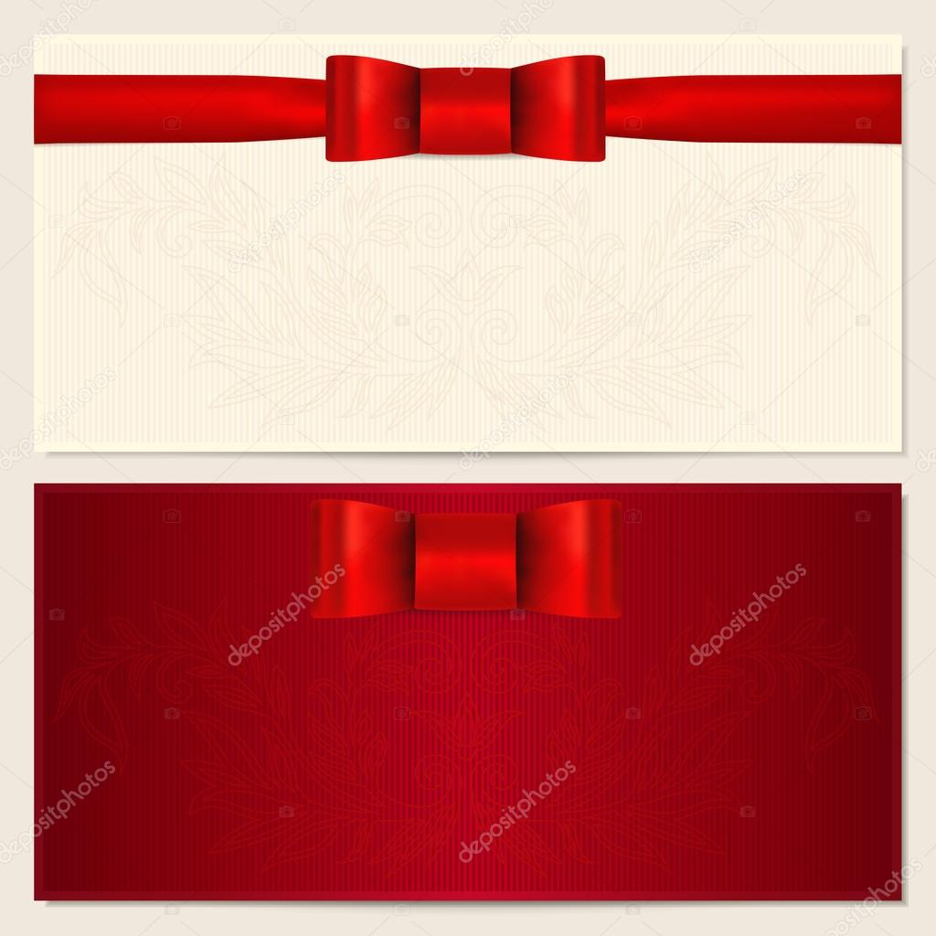 Voucher, Gift certificate, Coupon, Invitation or Gift card template with red bow (ribbon) and floral (scroll) pattern. Background design for banknote, check (cheque). Vector in red (maroon) colors