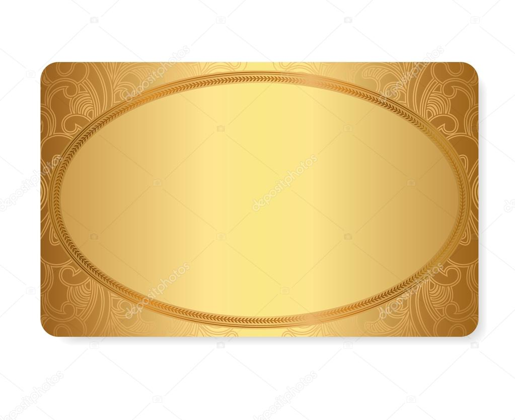 Gift coupon, gift card (discount card, business card) with floral (scroll, swirl) gold swirl pattern (tracery). Background design for calling card, voucher, invitation, ticket etc. Vector