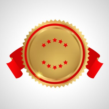 Award, Insignia, Badge for certificate, diploma, web page. Golden medal with red ribbons (sign of winner). Prize of First. Premium quality, Best price, choice, guarantee, Best seller. Isolated vector