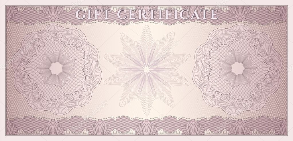 Voucher Gift certificate Coupon ticket template Guilloche – Money Note Template