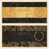doklad, dárkové poukázky, kupón šablonu. květinové, vyhledejte vzorek (luk, rám). pozadí návrhu pro pozvánka, vstupenka, bankovek, peníze design, měna, kontrola (šek). černá, zlatá vektor