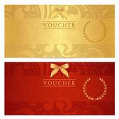 doklad, dárkové poukázky, kupón šablonu. květinové, vyhledejte vzorek (luk, rám). pozadí návrhu pro pozvánka, vstupenka, bankovek, peníze design, měna, kontrola (šek). červené, zlaté vektor