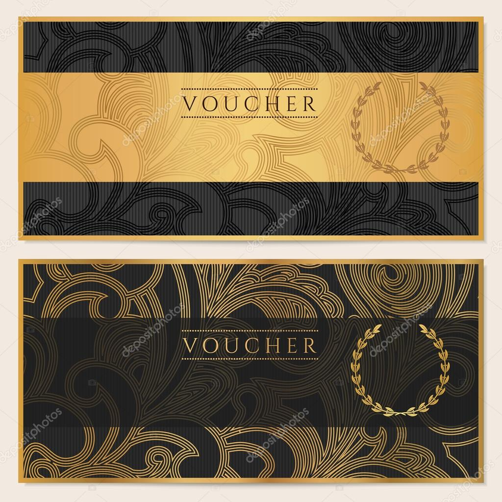 Voucher, Gift certificate, Coupon template. Floral, scroll pattern (bow, frame). Background design for invitation, ticket, banknote, money design, currency, check (cheque). Black, gold vector