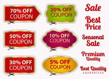 Vector set: Sale Coupons, labels (banner, tag) template (layout) with gold frame, dotted line (dash line), cutting scissors (cut off). Design for sticker, web ad, ticket etc. Corrugated background