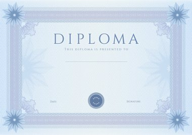 Certificate, Diploma of completion (design template, background) with guilloche pattern (watermark, rosette), border, frame. Blue Certificate of Achievement, coupon, awards, winner