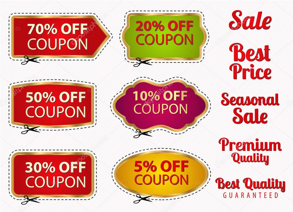 Vector Set: Sale Coupons, Labels (Banner, Tag) Template (Layout