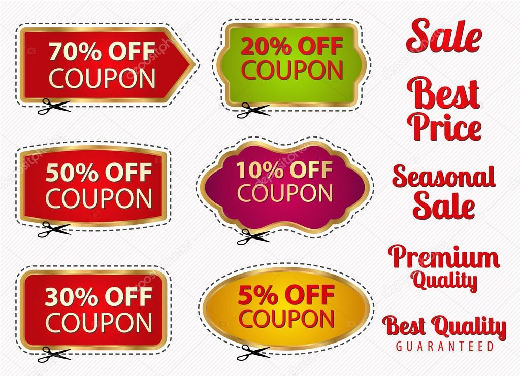 Set Sale Coupons Labels Banner Tag Template Layout With Gold