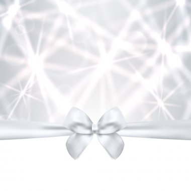 Holiday card, Christmas card, Birthday card, Gift card (greeting card) silver template with bow, ribbon (present), sparkling, twinkling stars. Celebration background design for invitation clip art vector