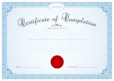 Certificate, Diploma of completion (design template, background) with floral pattern (watermark), border, frame. Blue Certificate of Achievement, Certificate of education, coupon, awards, winner