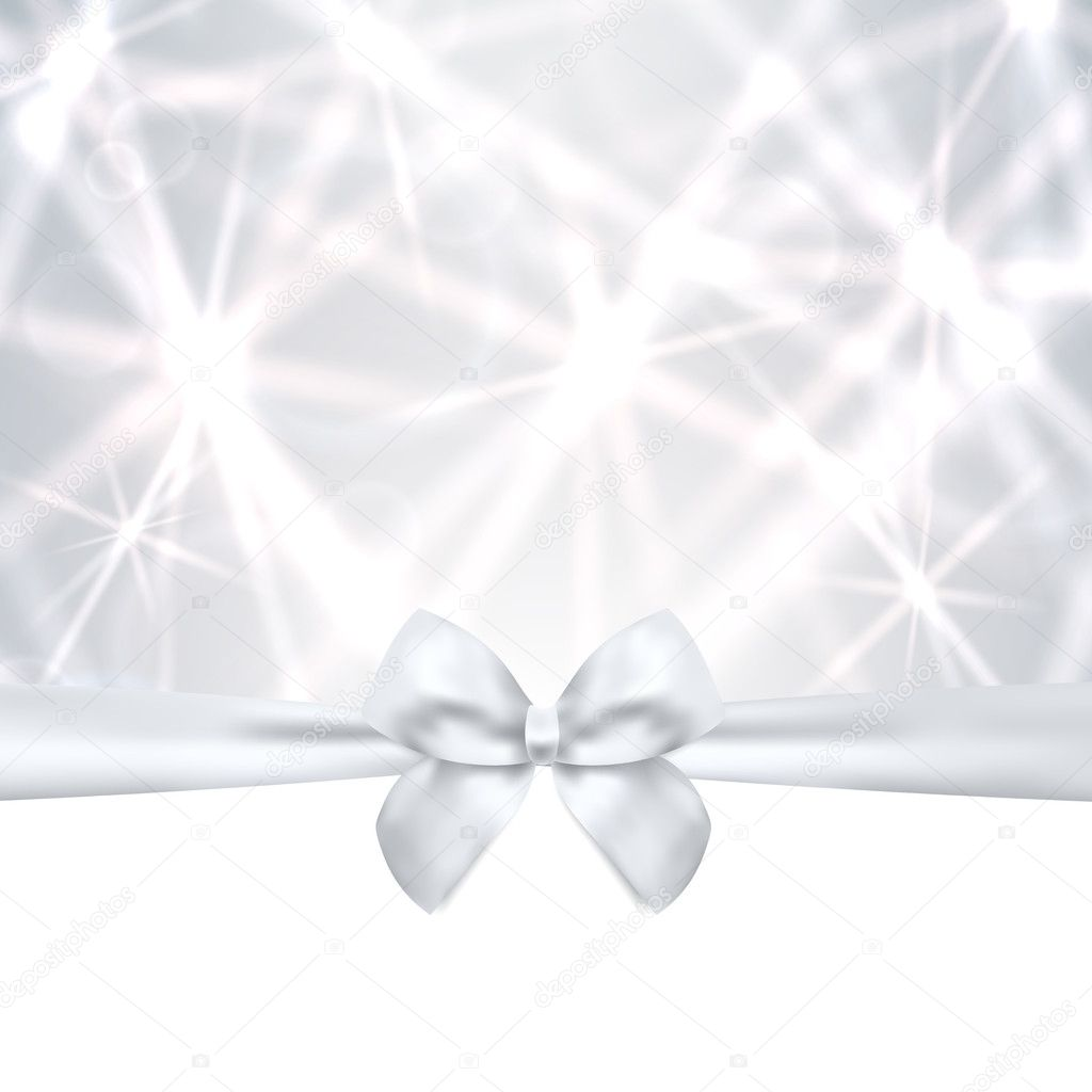 Holiday card, Christmas card, Birthday card, Gift card (greeting card) silver template with bow, ribbon (present), sparkling, twinkling stars. Celebration background design for invitation