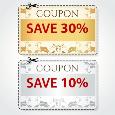 Sale Coupon, labels (banner, tag) gold, silver template (vector design, layout) with floral frame, pattern, dotted line (dash line), red percent, scissors (cut off, cutting). Save money, get discount