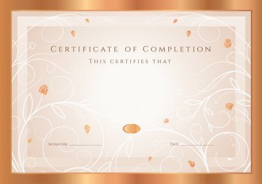 Certificate of completion, Diploma (design template, background) with gold floral, swirl pattern, flowers (roses), frame. Bronze Certificate of Achievement, coupon, award, winner