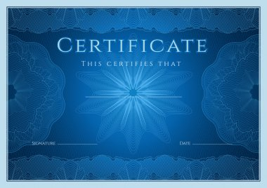 Certificate, Diploma of completion (design template, background) with guilloche pattern (watermark), rosette, border, frame. Blue Certificate of Achievement, education, coupon, award, winner. Vector