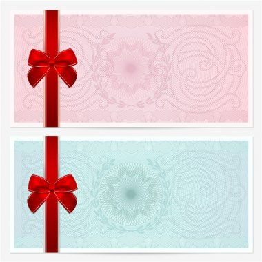 Gift certificate, Voucher, Coupon template with colorful guilloche pattern (watermark), red bow. Pink background for banknote, money design, currency, note, check (cheque), ticket, reward. Vector