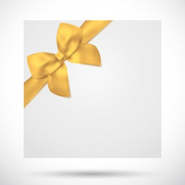 Holiday card, Christmas card, Birthday card, Gift card (greeting card) template with big lush gold bow (yellow ribbons, present). Holiday (celebration) background design for invitation, banner. Vector