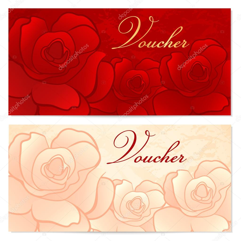 Voucher gift certificate coupon template with floral rose voucher gift certificate coupon template with floral rose pattern red background for invitation money design currency note check cheque ticket yadclub Image collections