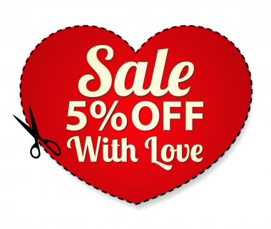 Vector Sale Coupon, labels (banner, tag) red template (design, layout) with heart shaped frame, dotted line (dash line), percent, scissors (cut off, cutting). Save money, get discount