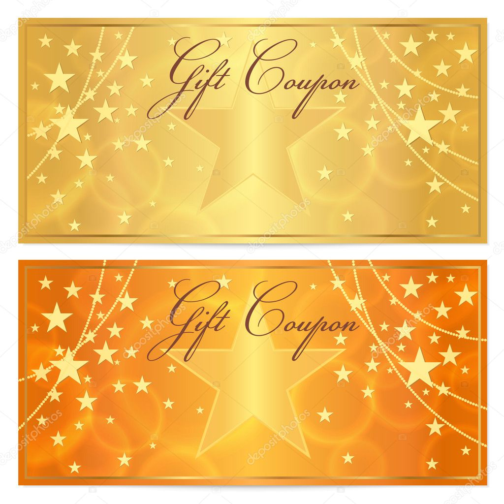 Gift certificate Voucher Coupon template with stars pattern – Money Coupon Template