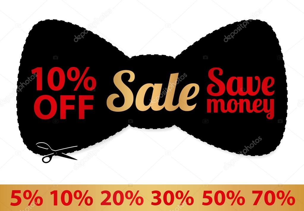 Sale Coupon, Vector Label (Banner, Tag) Black Template (Design