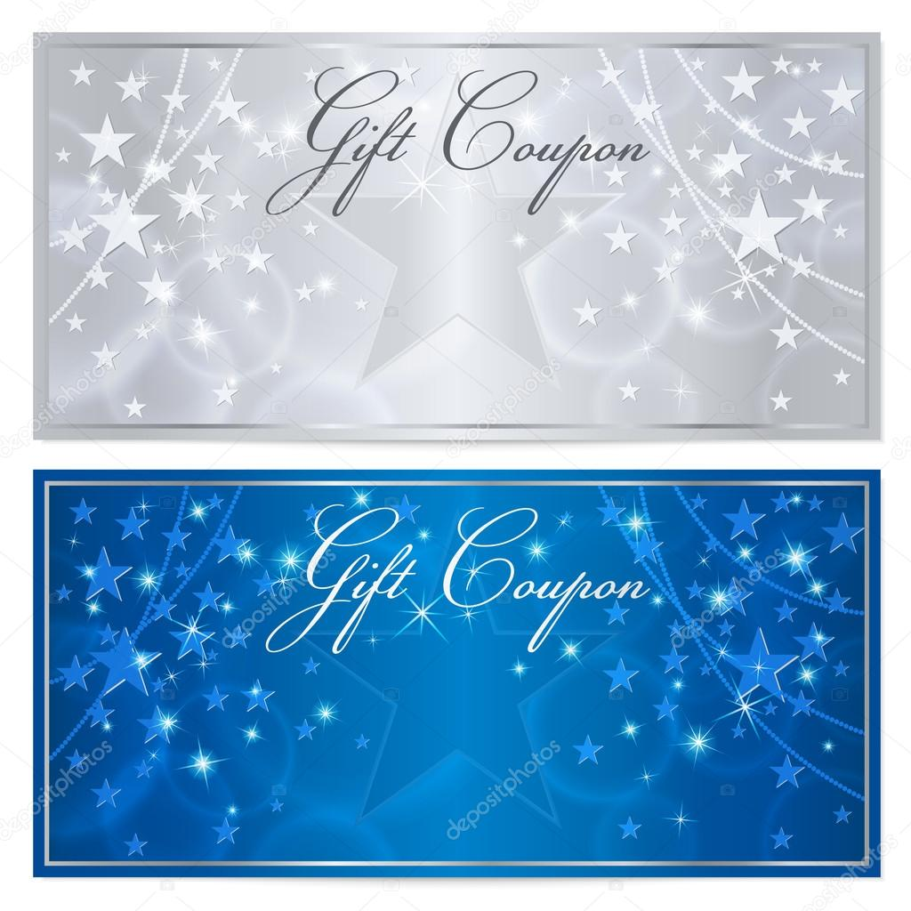 gift certificate  voucher  coupon template with stars