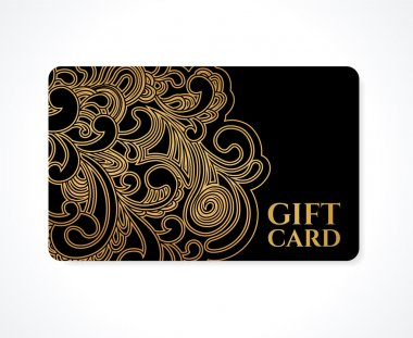 Gift card (discount card, business card, Gift coupon, calling card) with gold floral (scroll), swirl pattern (tracery). Black background design for calling card, voucher, invitation, ticket. Vector