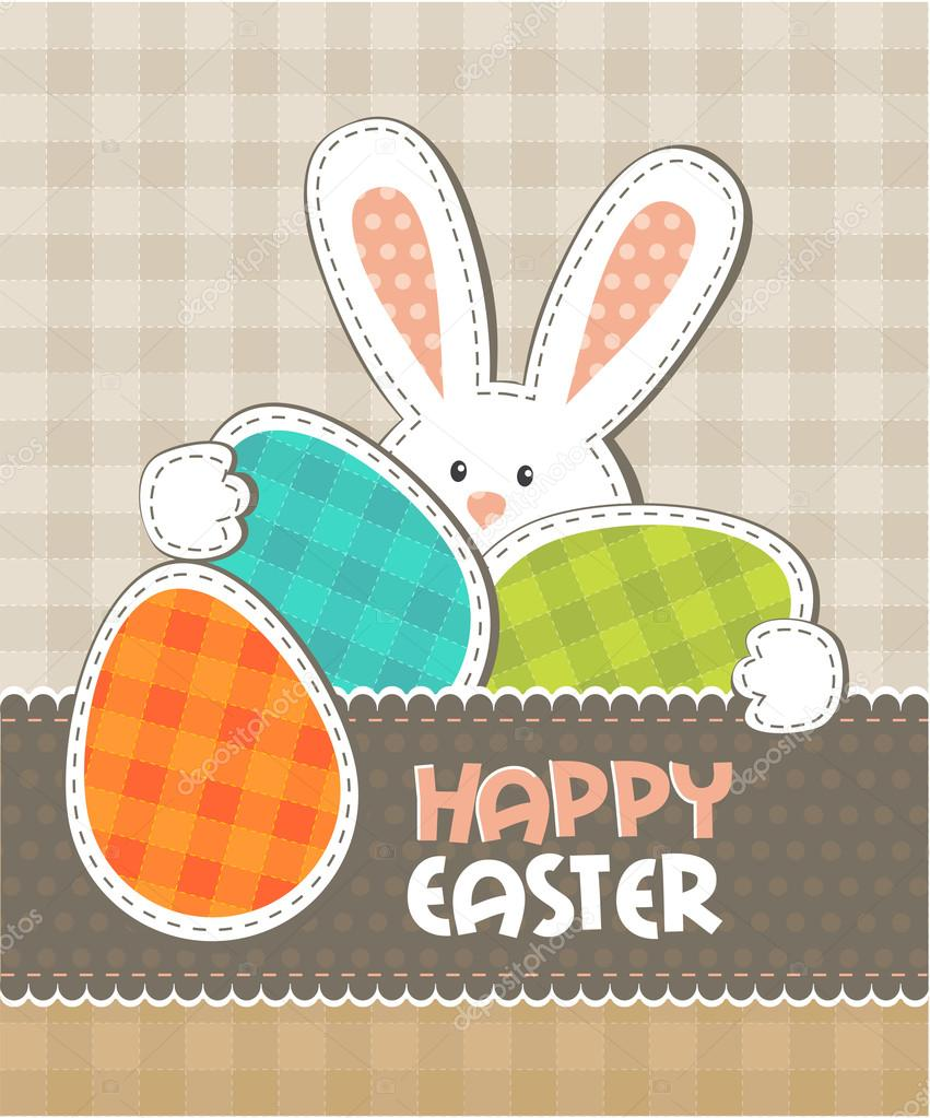 Greeting card. Easter bunny with colored eggs