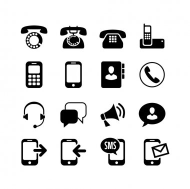 Set 16 icons. Тelephony