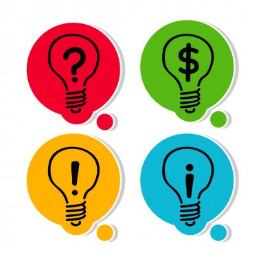 Set. Light bulb - symbol of creativity