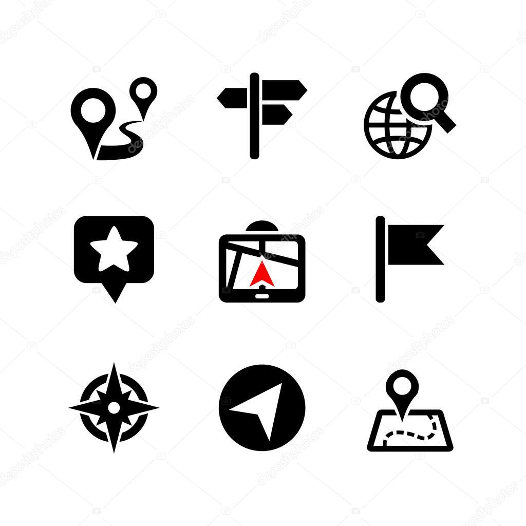 Set of 9 web icons. Location, navigation, map