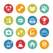 Domácí zvířata ikony nastavit. veterinární emblémy, veterinární lékárna