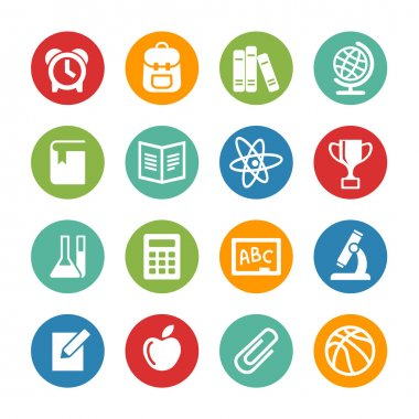 Back to school. Web icons set. Education
