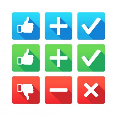 Yes, No, Plus, Minus, Thumbs up and down icons clip art vector