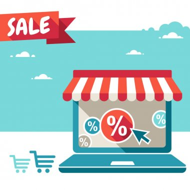 Online store. Sale, Laptop with awning
