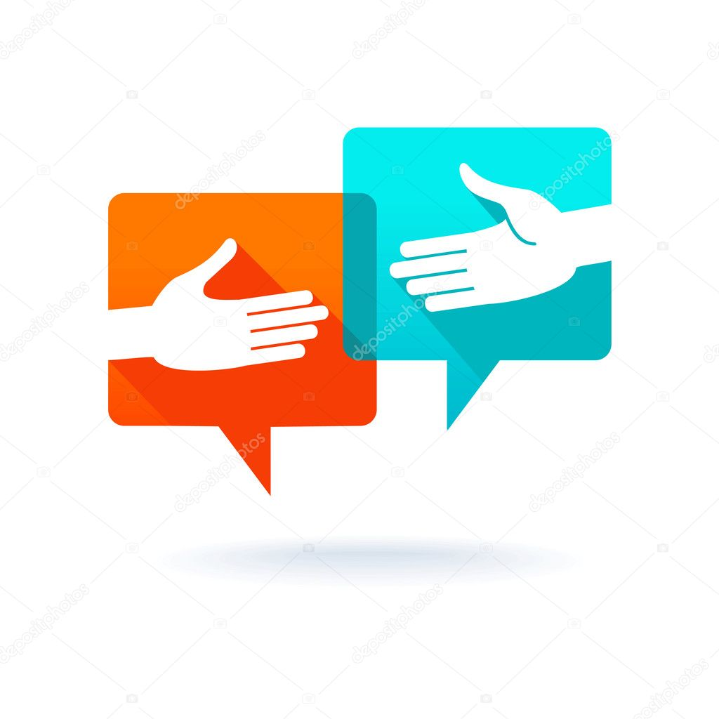 Dialog bubbles with shaking hands