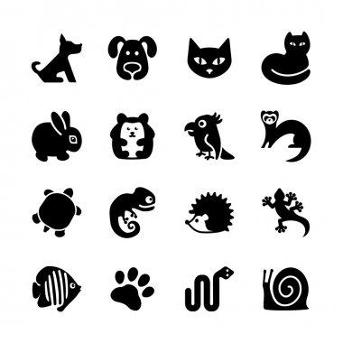 Set of 16 web icons. Pet shop, types of pets.