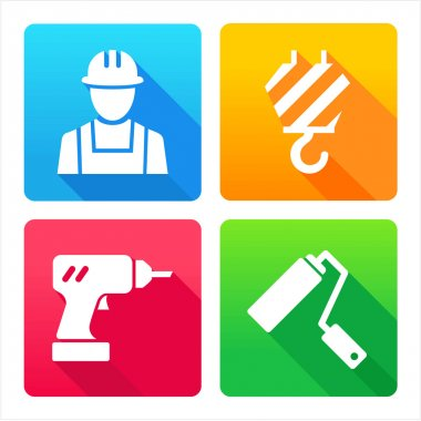 Set 4 icons - construction, renovation, decoration, tools