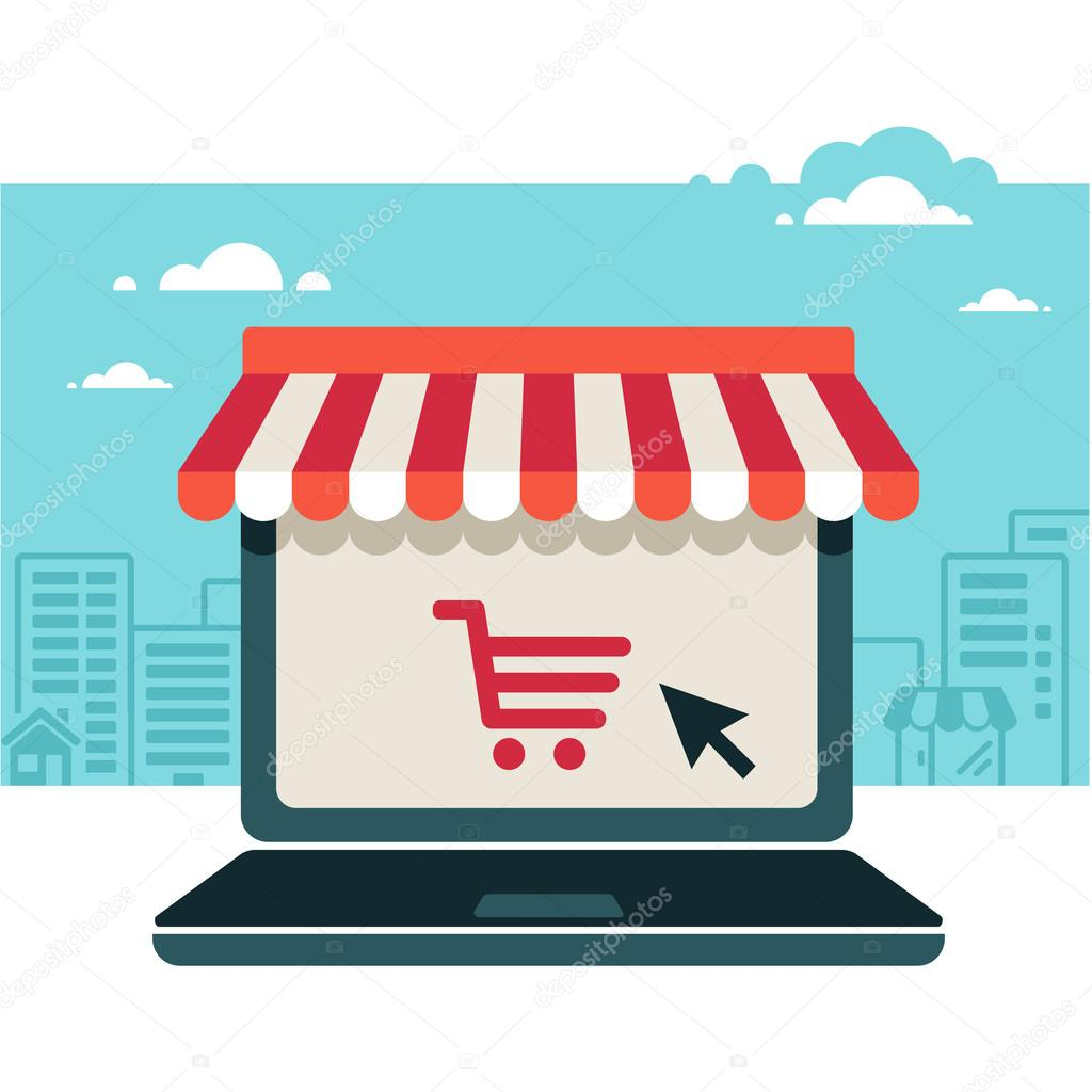 Online store sale laptop with awning stock vector for Online retailer for sale