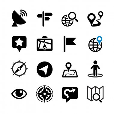Set of 16 web icons. Location, navigation, map