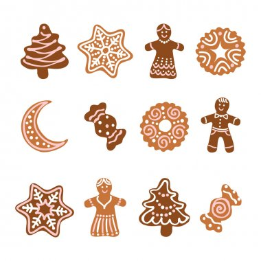 Web icon set -12 Christmas gingerbread cookies