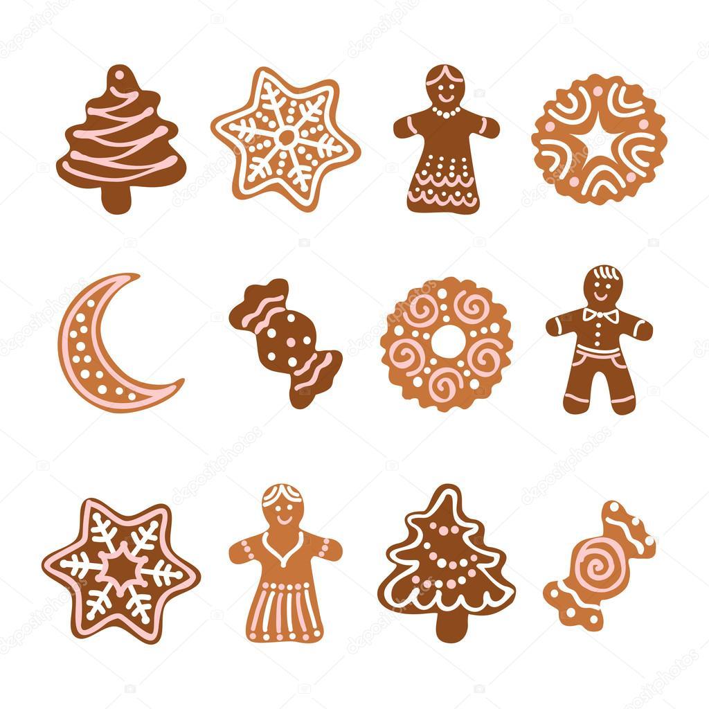 Weihnachtsgebäck Clipart.Web Icon Set 12 Christmas Gingerbread Cookies Stock Vector