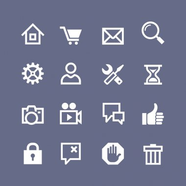 Set 16 basic icons for website and touch screen