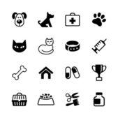 sada 16 ikony - domácí zvířata, veterán klinika, veterinářství