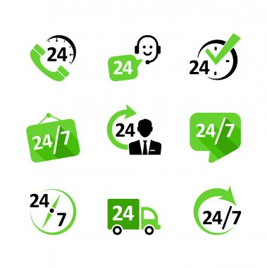 Web icon set -24 hour service, delivery, support, phone