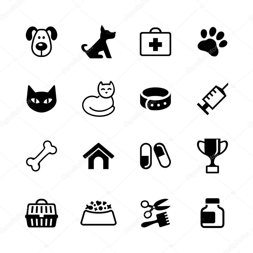 Amado Set 16 ícones - animais de estimação, clínica veterinária  FZ19