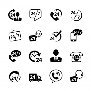 Web icon set -24 hour service, support, delivery