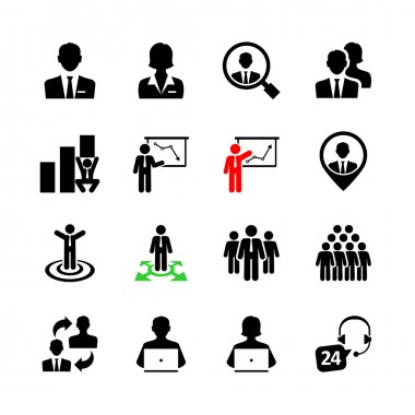Business people, human resources and management icon set clip art vector
