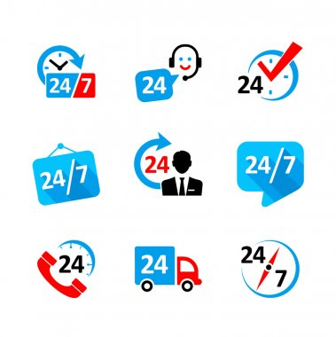 Web icon set - nonstop service, delivery, support, call center