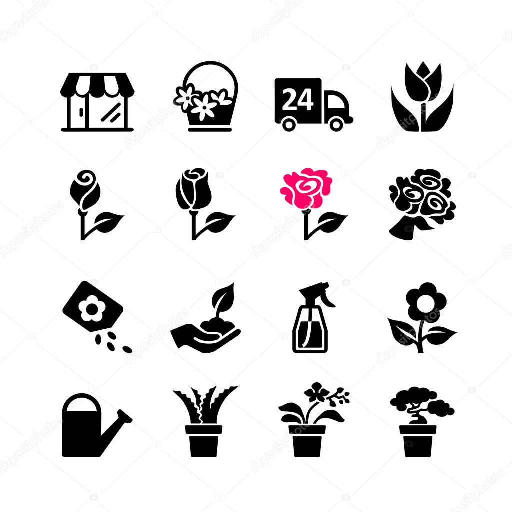 Web icon set - florist, flower shop, bouquet, pot