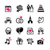 16 ikony webových sada - svatba, manželství, svatební