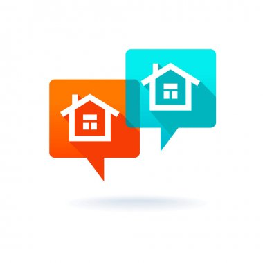 Real estate concept - dialog boxes with icons of houses